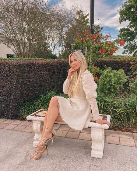 Cream puff sleeve mini dress from H&M with gold strappy lace up sandals from JustFab http://liketk.it/3bPh6 #liketkit @liketoknow.it #LTKunder100 #LTKunder50 #LTKwedding