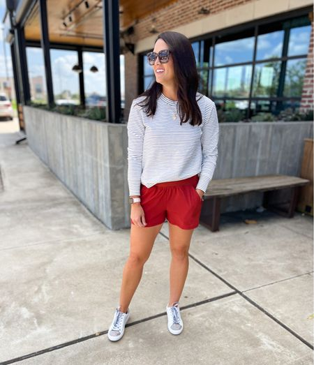 Everyday athleisure looks, Amazon finds, pullover tunic - in a small TTS Shorts - true to size  sneakers - TTS   #LTKstyletip #LTKshoecrush #LTKunder50