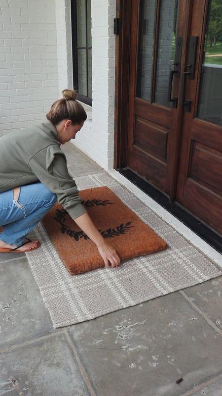 Outdoor rug layered with doormat  Front door decor  #LTKunder50 #LTKhome