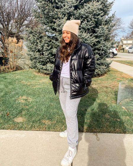 Black puffer jacket gray sweatpants cream cashmere hat http://liketk.it/2HjAg #liketkit @liketoknow.it
