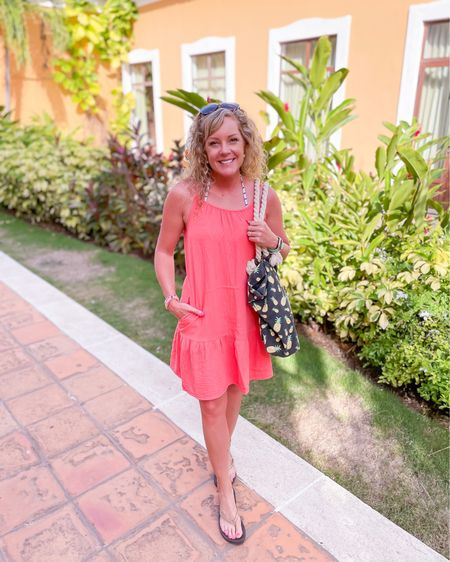 Sleeveless Tiered Gauze Dress - Universal Thread Target size small / beach coverup / coral spaghetti strap dress / beach outfit / vacation outfit  http://liketk.it/3jdq1 #liketkit @liketoknow.it #LTKswim #LTKstyletip #LTKtravel