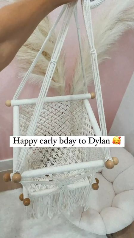 How adorable is this macrame baby swing?!! 😩 first birthday present for Dylan 🥰 Amazon find. Amazon home. Shipped quick!   #LTKhome #LTKbaby #LTKunder100