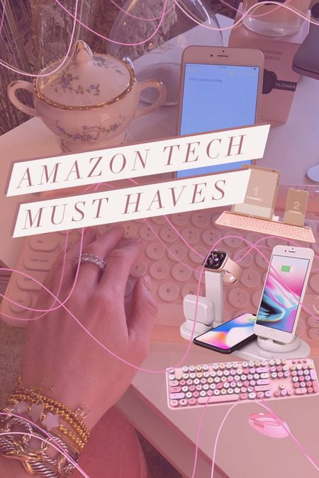 All of my Amazon tech must-haves that seriously help my productivity! Especially the Bluetooth phone keyboard such a game changer. The perfect gifts for someone who is always on their phone!  Three in one charger  Typewriter keyboard  Pink desk decor  White desk decor  Black desk decor  Blue desk decor  Beaded Bracelets   #LTKunder100 #LTKunder50 #LTKgiftspo