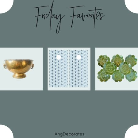 Friday Favorites: vintage bowl with elephant handles, pretty cornhole boards, and a vintage majolica plate set  #LTKhome