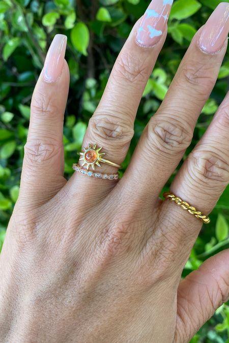 Gold sun ring from Etsy  Forever ring from The Modern Gents // Use code JENNLE18   Chicago ring from Hey Harper Shop // Use code HEYJENN    #LTKbeauty #LTKsalealert #LTKunder50