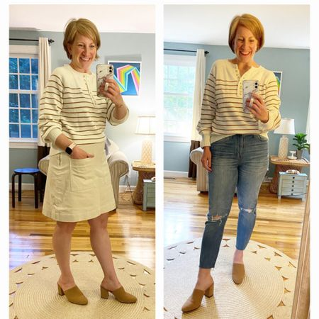 Sweater (in Khaki) and skirt (M) Jeans are older Madewell Mules are older JCrew (check Poshmark!)