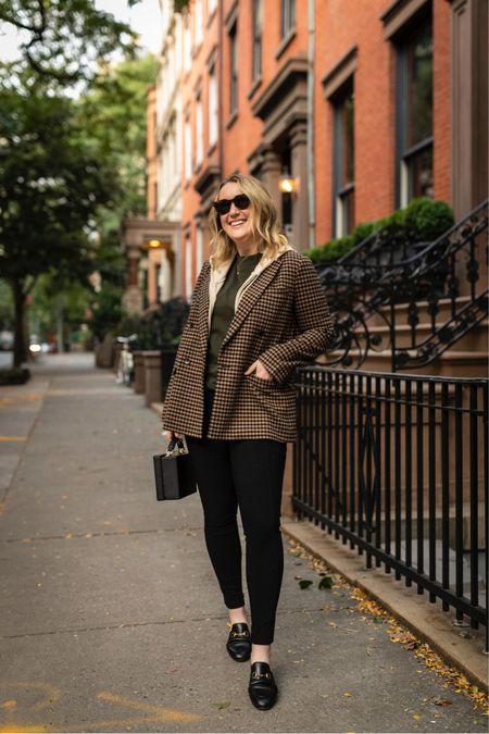 Fall classics  Plaid blazer (4) Green tee (L) Cashmere hoodie (m) Black pants (6S) Work pants MM.LaFleur    #LTKSeasonal
