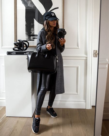 Hiking outfit for fall Plaid coat  Abercrombie sweater Abercrombie faux leather leggings  Nike Cortez sneakers on sale with code FW2021 Ny Yankees cap  #LTKunder100 #LTKstyletip #LTKunder50
