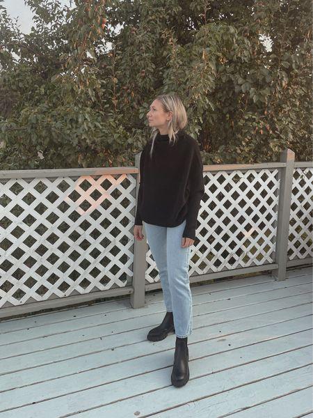 Some favorites from the Nordstrom anniversary sale- black sweater, Levi's, and black lug boots   #LTKsalealert