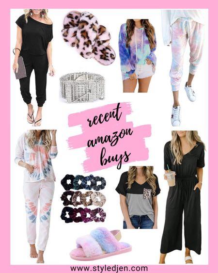 Amazon fashion finds  - pink leopard and tie dye slippers, black jumpsuits, tie dye sweatshirt hoodie, velvet scrunchies, diamond rhinestone belt, tie dye joggers, tie dye loungewear set, leopard pocket tee  #amazon #amazonfinds     #LTKunder100 #LTKstyletip #LTKunder50
