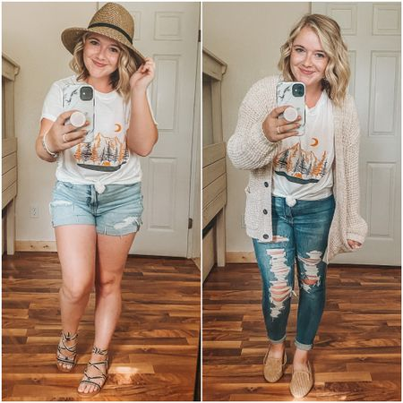 $7 SHEIN tee- sized up to an XL! Camping tee, graphic t-shirt, mom shorts, curvy Jegging, curvy, gladiator santal, loafer, curvy mom shorts, summer to fall transition, summer hat, cozy cardigan, graphic tee outfit, dainty jewelry, wrap bracelet.   http://liketk.it/2UQF5 #LTKsalealert #LTKstyletip #LTKunder50 #liketkit @liketoknow.it
