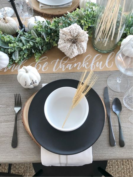 H O L I D A Y \ modern farmhouse #thanksgiving table🦃 Mixing simple dinnerware with a rustic centerpiece🌾  #thanksgivingtable #table #tablescape  #LTKHoliday #LTKunder50 #LTKhome