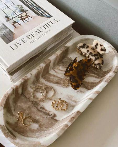 Marble tray, gold jewelry, earrings, hair claw clips, fall decor    #LTKunder50 #LTKSeasonal #LTKunder100