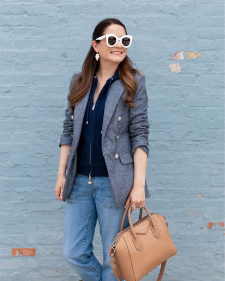 A Veronica Beard blazer, dickey, and cropped jeans from the Nordstrom Anniversary Sale with a Givenchy Antigona bag, Celine sunglasses, and Kendra Scott earrings  #LTKsalealert #LTKunder100 #LTKunder50