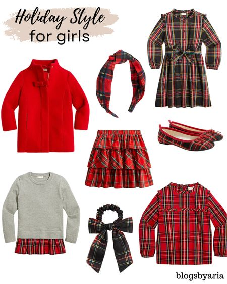 Tartan plaid holiday style for girls family Christmas photos holiday party style for girls Christmas plaid   #LTKkids #LTKHoliday #LTKfamily