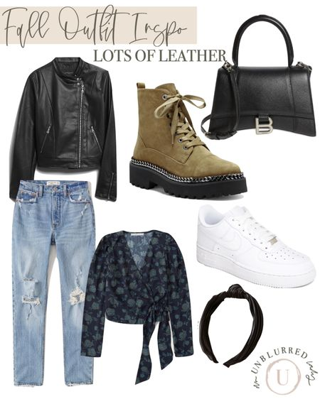 Loving the leather jacket paired with combat boots and mom jeans!! http://liketk.it/2ZQVt #liketkit @liketoknow.it #LTKstyletip #LTKunder100 #LTKunder50   fall outfits women, bodysuit, leather jacket, vegan leather, felt hat, fall fashion, fall outfit ideas, booties,