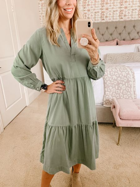 Here's a closeup of a great fall dress. The sage color is so pretty.   Dress fit: XS   #LTKstyletip #LTKunder50 #LTKsalealert