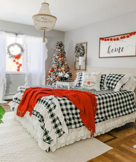Christmas bedroom decor buffalo check with pops of red   #LTKunder100 #LTKhome #LTKstyletip