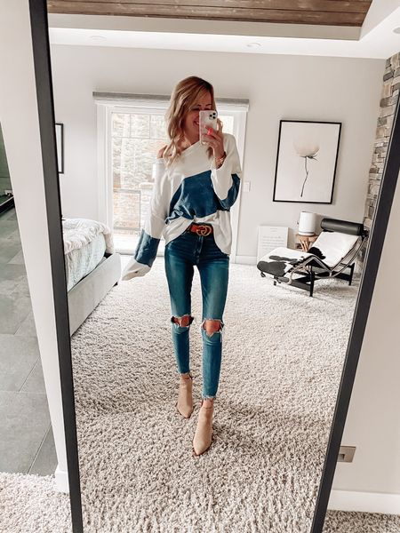 Cute trendy fall outfit Sweater and skinny jeans with ankle boots Ripped knee jeans  Color lock sweater #pinklilystyle pink lily  #LTKSale #LTKstyletip #LTKsalealert