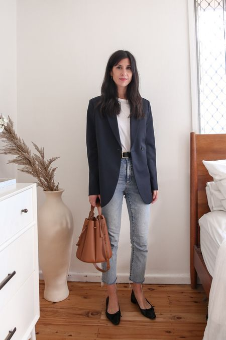 White t shirt worn with slim leg jeans a navy oversized blazer and black ballerina pumps   #LTKaustralia #LTKSeasonal