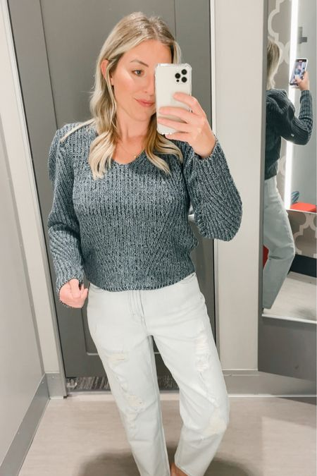 Puff sleeve sweater from universal thread. Wild fable mom jeans