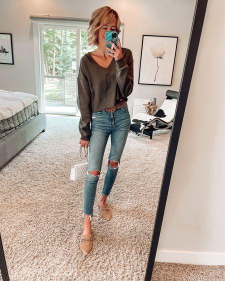 Nordstrom sale #nsale anniversary outfit ideas Gucci belt Suede mules on sale  Bp at Nordstrom cropped v-neck sweater   http://liketk.it/3jE6B #liketkit @liketoknow.it #LTKsalealert #LTKshoecrush