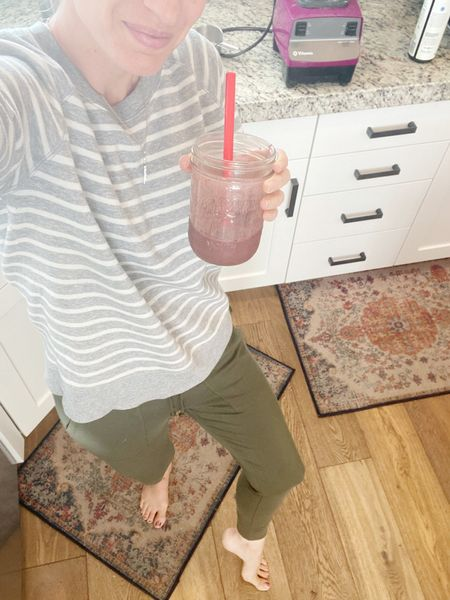 My fave joggers (I'm obsessed!) And they are $16 at Target! On a green smoothie kick... still. Recipe on the blog. (Been using kefir instead of Greek yogurt lately!)  Had to show you my vitamix and my kitchen rugs (that Velcro to the floor! Genius!)   Old navy vintage (long) sweatshirt in small. Target joggers in small.   #LTKhome #LTKfit #LTKfamily