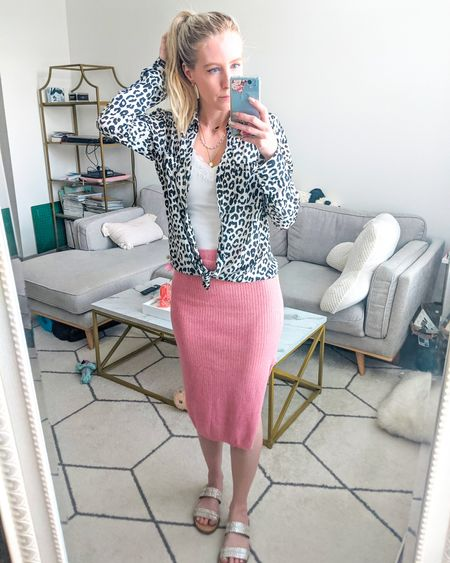 Casual workwear outfit. White cami, leopard button down blouse, pink fitted knit midi skirt, gemstone bejeweled sandals. Amazon fashion, Target style, Express, Pink Lily. http://liketk.it/3gaPq @liketoknow.it #liketkit #LTKunder50 #LTKunder100 #LTKworkwear