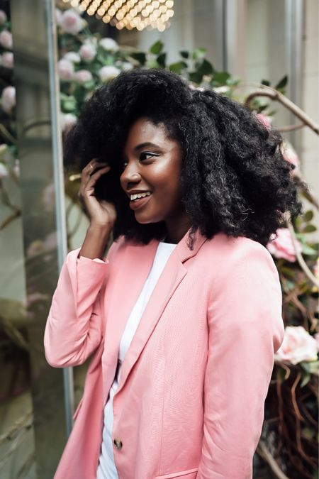 Fun everyday make up with a pink blazer. Used this hair lotion for a fluffy twist out.   #LTKunder50 #LTKbeauty #LTKstyletip