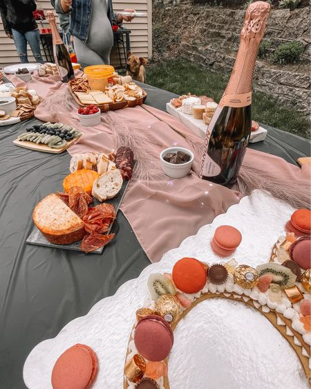 Bachelorette table set up - charcuterie & champagne + ring tart cake 🍰  http://liketk.it/3jfYt #liketkit @liketoknow.it #LTKunder50 #LTKwedding #LTKhome