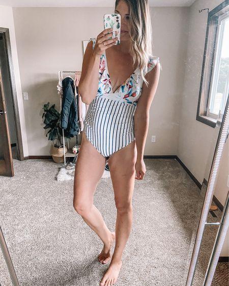 Floral and striped one piece amazon swimsuit Size large  #liketkit @liketoknow.it http://liketk.it/3hSX1 #LTKstyletip #LTKswim #LTKtravel