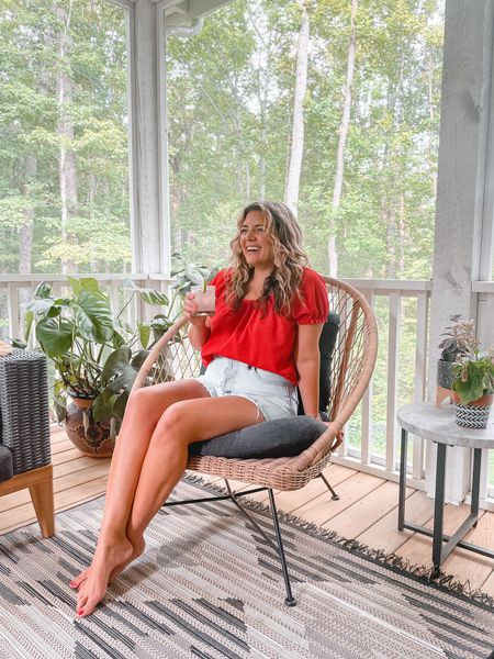 """National tequila day on our screened in porch! My top is old but these shorts are my all-time favorite! Relaxed fit, high waist and 4"""" inseam. 👌🏼 Size down if in between. They're also on sale! @madewell #madewell   #LTKsalealert #LTKunder100 #LTKhome"""