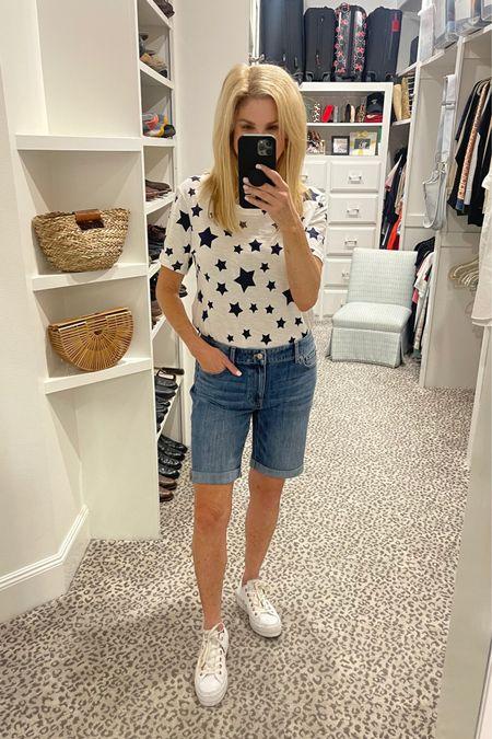 Simple Saturday  Denim shorts - wearing size 6 Star tee - M Converse sneakers - size down 1 size (run large)  http://liketk.it/3hrOm #liketkit @liketoknow.it #LTKstyletip #LTKunder50 #LTKshoecrush