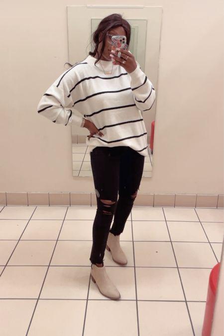 Fall fashion wardrobe must have! Oversized sweaters Denim jeans Booties  #LTKshoecrush #LTKstyletip #LTKSeasonal