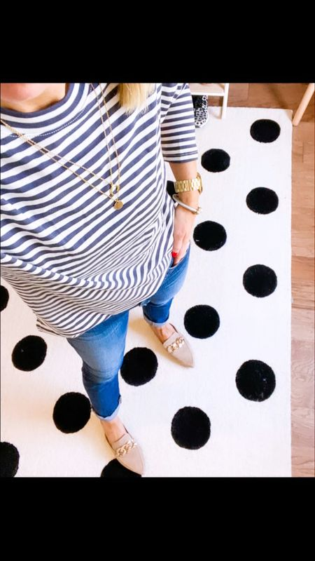 $12 target tee- goes with everything- a great layering piece and staple for Fall!   Comes in other colors   Long sleeve tee - Wearing XS - true to size   Sized up 1/2 size in mules   Jeans are J Brand (older) but linked similar style  Faux leather leggings - small petite; size up if in between   Boots -true to size       Fall outfit , long sleeve tee , teacher outfits , striped tee , fall fashion , target style , target finds #ltkshoecrush #ltktravel , #ltkworkwear #ltkunder50 #ltksalealert nordstrom finds , boots , knee high boot , sam Edelman , olly boot , spanx leggings , faux leather leggings #ltkshoecrush #ltksale  #LTKunder100 #LTKworkwear #LTKSeasonal
