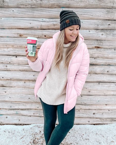 Stay warm this winter by upgrading your winter jacket. This baby pink puffer jacket (filled with primaloft)  and cowl neck sweater are a winning combo! I like to throw on Ugg's and leggings if I plan on taking a leisurely winter walk! http://liketk.it/34rwP #liketkit @liketoknow.it #LTKstyletip #LTKunder100 #LTKsalealert #pink #pufferjacket #puffercoat #jacket #winterjacket #wintercoat #winterboots #winteroufit #pompombeanie #pombeanie #hats #LTKshoecrush