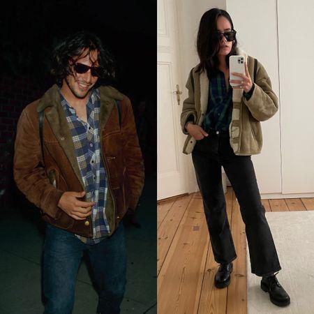 90s keanu reeves shearling jacket and flannel shirt   #LTKstyletip #LTKeurope #LTKSeasonal