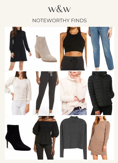 Fall finds from Nordstrom   Levi's jeans Sweater dresses Comfy joggers Cute sweaters Cute booties Cozy sweaters   Fall fashion   #LTKSeasonal
