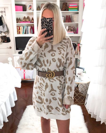 Leopard print sweater dress! Under $30. Wearing a small! Runs big. http://liketk.it/2Ekd7 @liketoknow.it #liketkit #LTKsalealert #LTKunder50