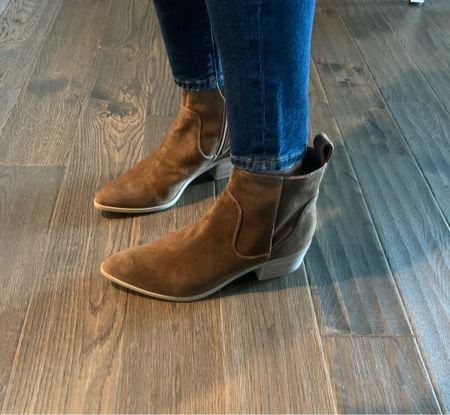 These cowboy-ish booties are so comfortable! I love them! They're selling out fast in this brown color, but they come in several colors. #lastseenwearing  Dolce Vita, Able booties, cowboy booties, brown boots, casual boots, comfortable booties   #LTKshoecrush #LTKstyletip #LTKunder100