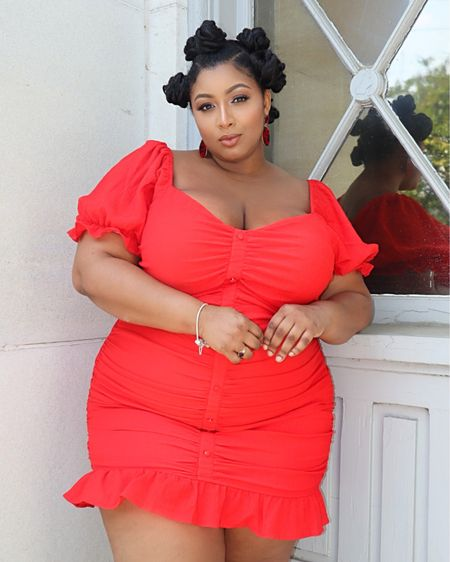 HOT MAMA! This beautiful bright red mini dress make me feel dainty, feminine and sexy! #LTKcurves #LTKunder50 #LTKsalealert http://liketk.it/2Qr4T #liketkit @liketoknow.it #plus # plus-size #curve #ftf #red #dress #mini #bodycon #ftf #reddress