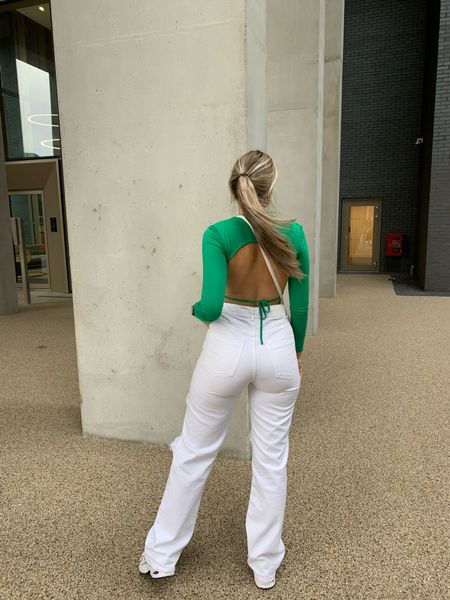 white baggy jeans and backless tops are all i need 💚💚💚  #LTKunder50 #LTKunder100 #LTKstyletip