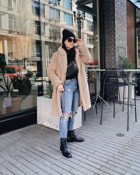 Winter #ootd. Sherpa coat. Combat boots. http://liketk.it/34PG2 @liketoknow.it #liketkit #LTKsalealert