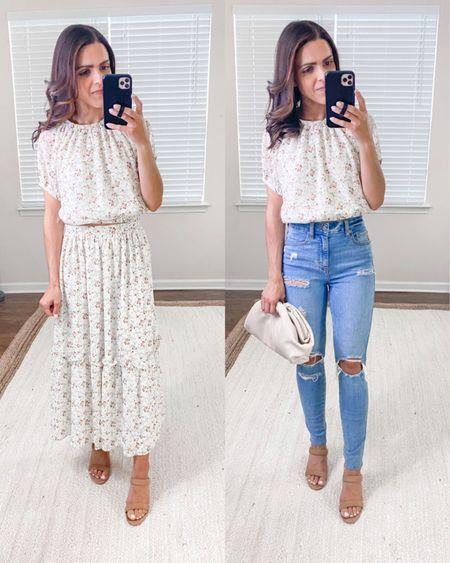 Lulus haul // floral print short sleeve crop top (s), tiered maxi skirt (s), high waisted distressed skinny jeans (tts), Summer matching set http://liketk.it/3hnMu #liketkit @liketoknow.it #LTKstyletip #LTKunder100