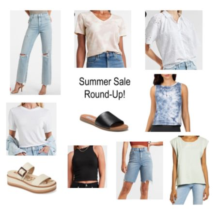 Some summer favorites on sale at Express and Nordstrom Rack! Tank and tees Shorts Sandals and jeans $60! Still a great deal!  #LTKunder50