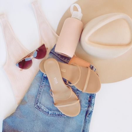 6 MUST HAVES FOR EASY BREEZY SUMMER STYLE:   1. Jean shorts 2. Casual tank 3. Nude sandals  4. Big hat 5. Cute sunnies  6. Matching water bottle  Shop my daily looks by following me on the LIKEtoKNOW.it shopping app 💕✨  Summer Look // Travel Style // Mom Fashion   http://liketk.it/3fZ1e #liketkit #LTKshoecrush #LTKstyletip #LTKtravel @liketoknow.it