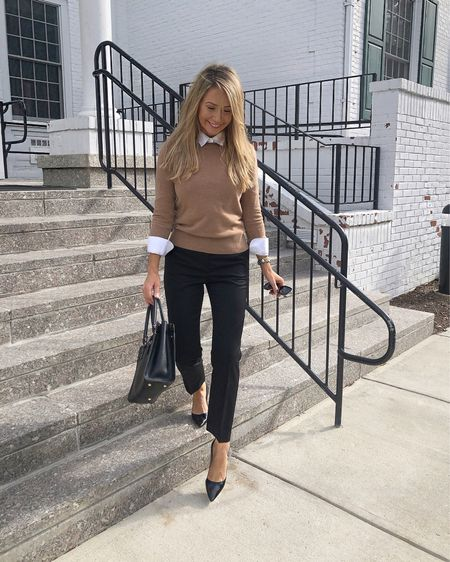 Fall transition work outfit ☠️🎀 (P.S. Recommend sizing up one size in these Reiss trousers) 🎀 @liketoknow.it http://liketk.it/2EPlP #liketkit #LTKworkwear #LTKunder50 #LTKunder100 #LTKstyletip #LTKsalealert #LTKshoecrush #LTKxNYFW  J.Crew camel sweater J.Crew crewneck sweater J.Crew camel crewneck sweater J.crew work sweater J.crew wool sweater J.crew camel wool sweater Reiss black trousers Reiss trousers Reiss slacks Reiss black slacks Reiss work pants Reiss black work pants Reiss black work slacks J.Crew pants J.crew trousers J.crew black pants J.crew black trousers J.crew black work pants Prada black heels Prada black high heels Brooks Brothers non iron shirt Brooks brothers non-iron shirt J.crew preppy outfit J.crew teachers outfit J.crew teacher outfits J.crew preppy work outfit Business causal outfit Business casual fall outfit Business casual autumn outfit Came outfit