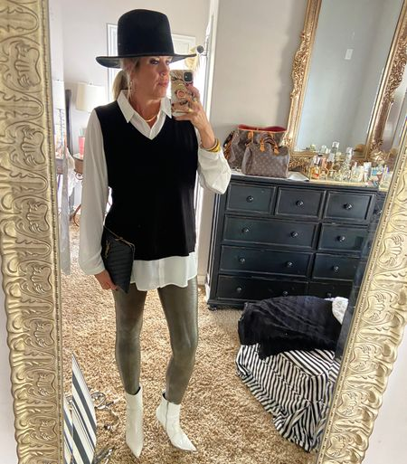 #ootd  Styling new #spanx leggings   Sweater vest, white booties, ysl clutch, Gigi pip hat, #ltktrends #ltkfall #ootd    #LTKstyletip #LTKshoecrush