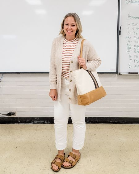 Casual everyday fall teacher outfit featuring white jeans, a striped muscle tee top, a long cardigan, and Birkenstocks #allwhite #neutrals #stripes #loft #Birkenstocks #whitejeans #Casual #teacher #mom #levis #wedgiejeans #straightjeans http://liketk.it/3mY3Z @liketoknow.it #liketkit