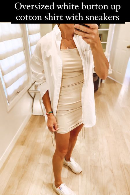 Oversized white button up shirt over $26 amazon fashion dress find styled with new balance sneakers fall outfit, amazon finds, amazon fashion finds, ribbed knit dress, fall dress   #LTKstyletip #LTKunder50 #LTKunder100